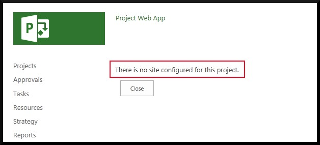 No Site Configured For This Project