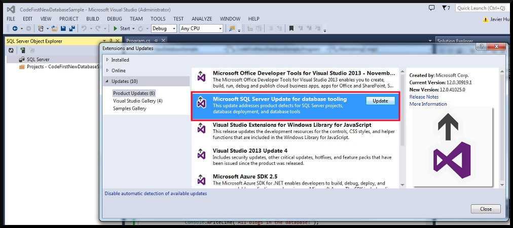 VS2013 Not Expanding LocalDB In SQL Server Object Explorer Update