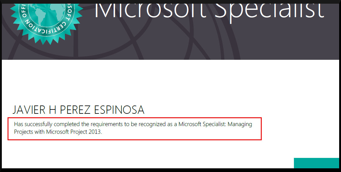 Lujo Microsoft Project 2013 Certification Viñeta - Certificado de ...