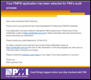 PMP Audit Email